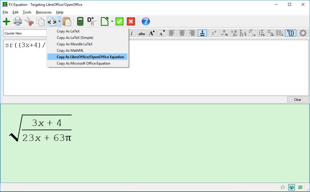 Copy As LibreOffice/OpenOffice Equation