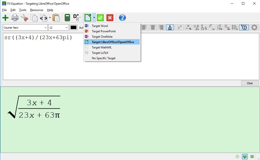Select LibreOffice Target