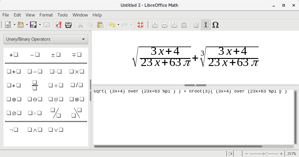 Screenshot of LibreOffice Math